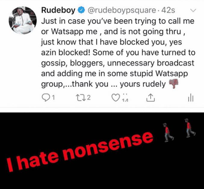 Rudeboy blocks several friends from calling him