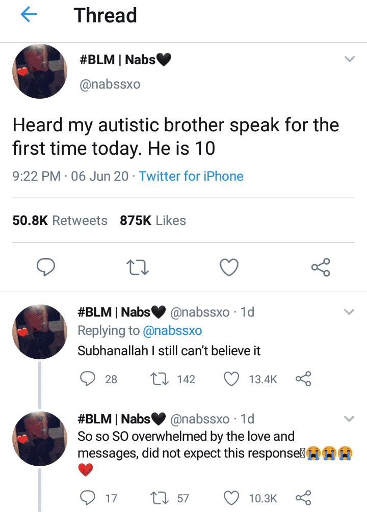 Lady excited as her autistic brother speaks
