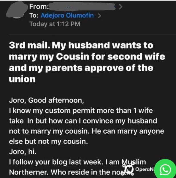 IMG 20200716 145957 795 - Spouse cries out as her husband units to marry her cousin as second spouse