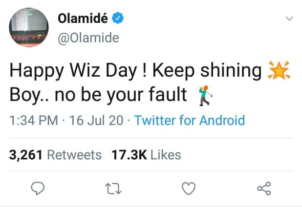 IMG 20200716 162737 131 - Rapper, Olamide celebrates Wizkid on his 30th birthday