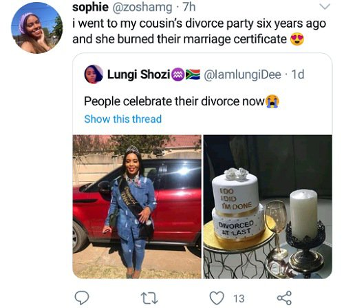 Lady celebrate her divorce with cake