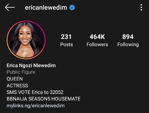 Erica gets verified on Instagram