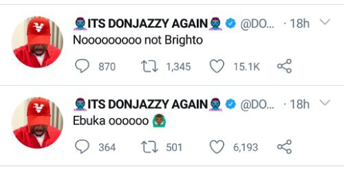 Don Jazzy reacts to BrightO's eviction