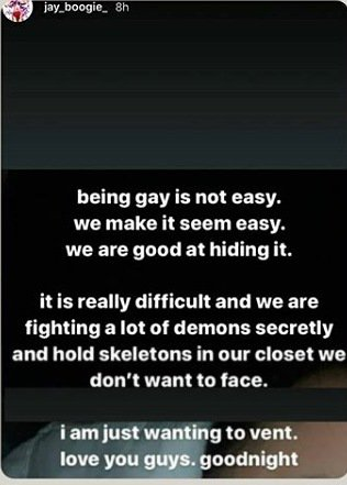 Being gay is not easy - jay boogie