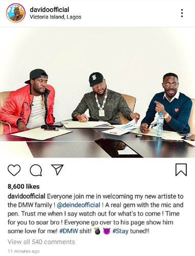 Davido signs new artiste, Deinde, to his DMW record label 2
