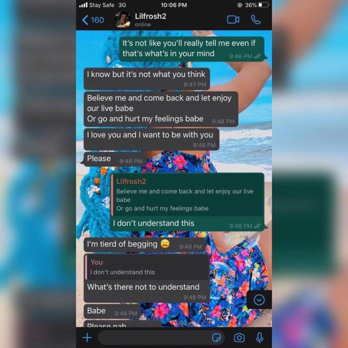 whatsapp chat lil frosh begging girlfriend after beating her up