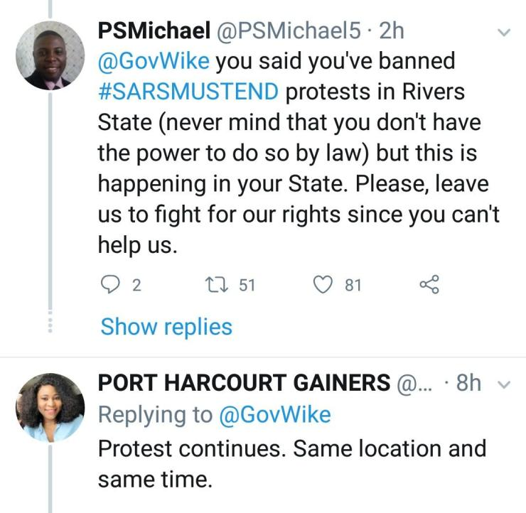 Outrage As Governor Wike Bans #EndSars Protest In Rivers State