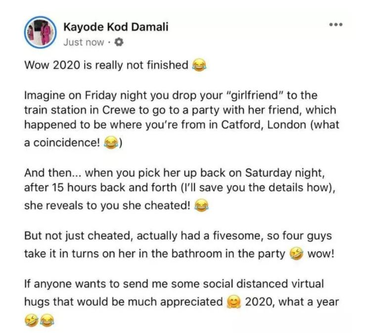 Heartbroken boyfriend calls out girlfriend, after she slept with four guys and reported herself to him