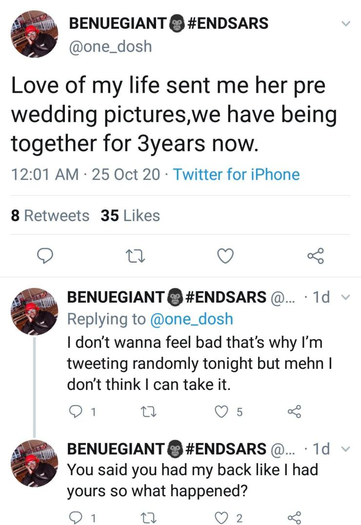 """You said you had my back like I had yours, so what happened?"" – Man laments as girlfriend of 3 years sends him pre-wedding photos with another man"
