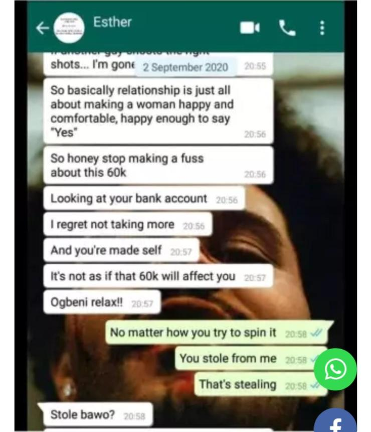 """""""If you don't take care of me, other men are waiting in line"""" – Man shares chat with girlfriend who 'stole' money from his account"""