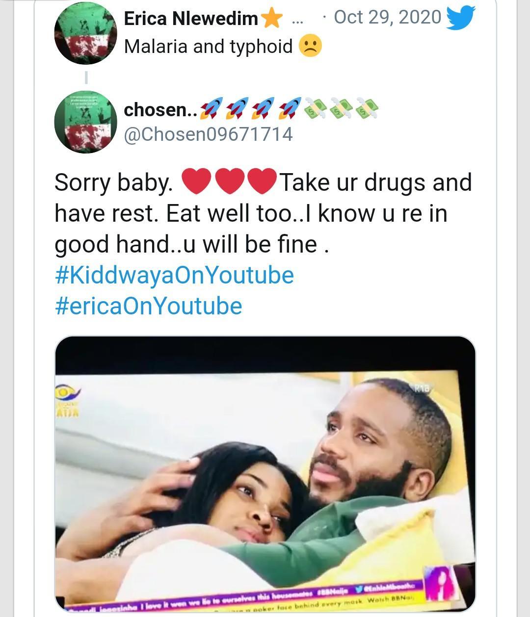 BBNaija Fans wish Erica a quick recovery as the actress falls sick 2