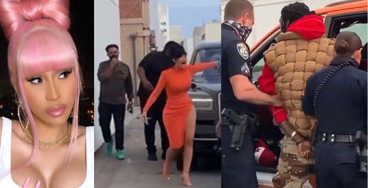 Moment Cardi B Confronted The Police For Dragging Her Husband, Offset From His Car (Video)