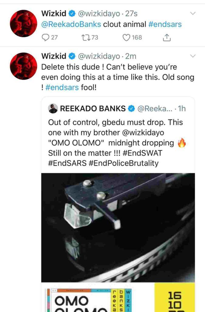 """""""Can't believe you're doing this at a time like this, fool!"""" – Wizkid blasts Reekado for attempting to release their 'old song' amidst #ENDSARS protests"""