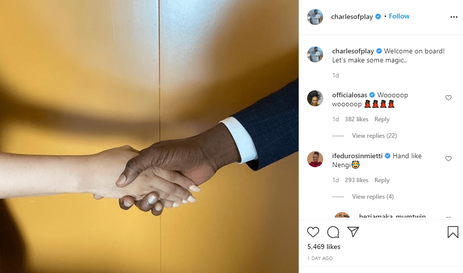 charles okpaleke's instagram announcement of Nengi's movie role