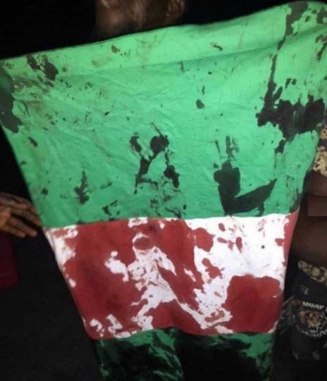 blood stained flag of Nigeria