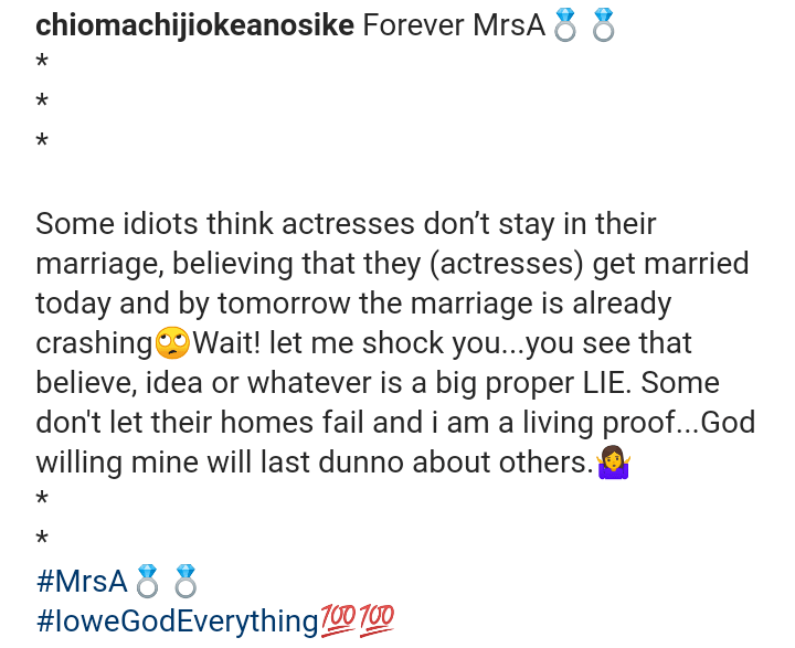 Actresses don't stay in marriage