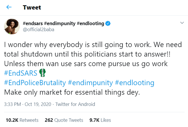 #EndSars: We need total shutdown until this politicians start to answer – 2baba