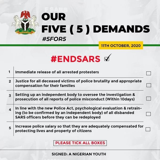 Breaking: Presidential Panel Approves #EndSARS Protesters' 5-Point Demands
