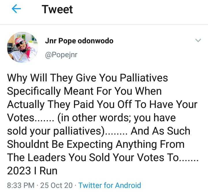 Don't expect anything from leaders - Pope Jnr