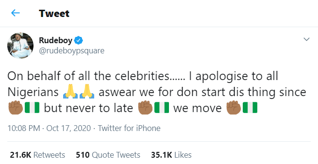 #EndSARS: Celebrities should have started the protest a long time ago – Paul Okoye apologizes