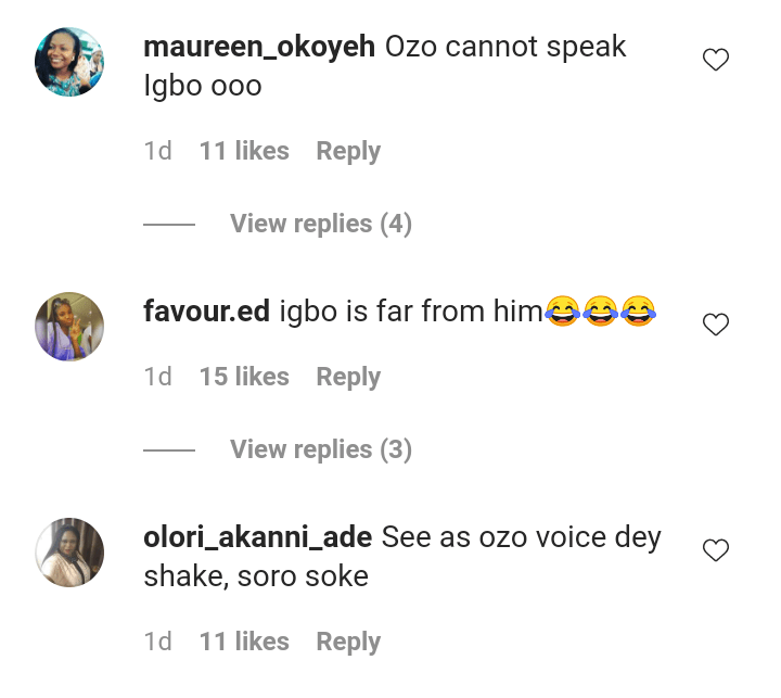 BBNaija's Ozo Mocked After He Was Unable To Speak His Native Language, Igbo (Video)