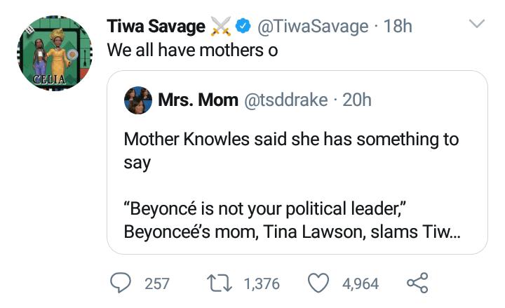Tiwa replies Beyonce's mom