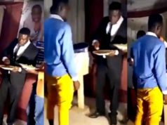 Pastor eats at the alter and invites members of the church to lick his finger