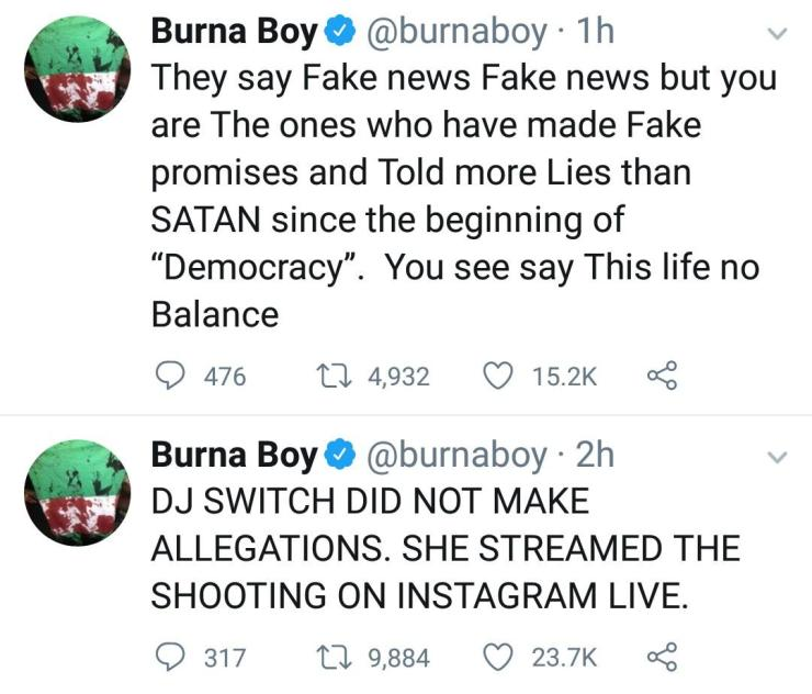 Burna Boy Speaks On DJ Switch And Lekki Shooting