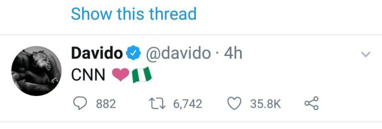 Davido Reacts As CNN Releases Findings From Investigation Of Lekki Shooting