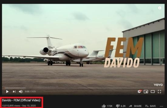 Davido's FEM Music Video Gathers Over 13M Views On YouTube, Davido's FEM Music Video Gathers Over 13M Views On YouTube, Premium News24