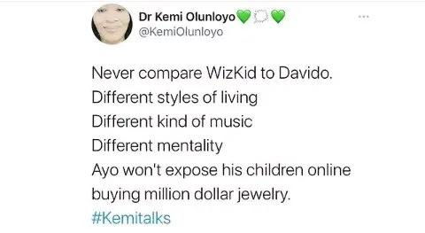 Kemi Olunloyo drags Davido for buying his daughter diamond necklace