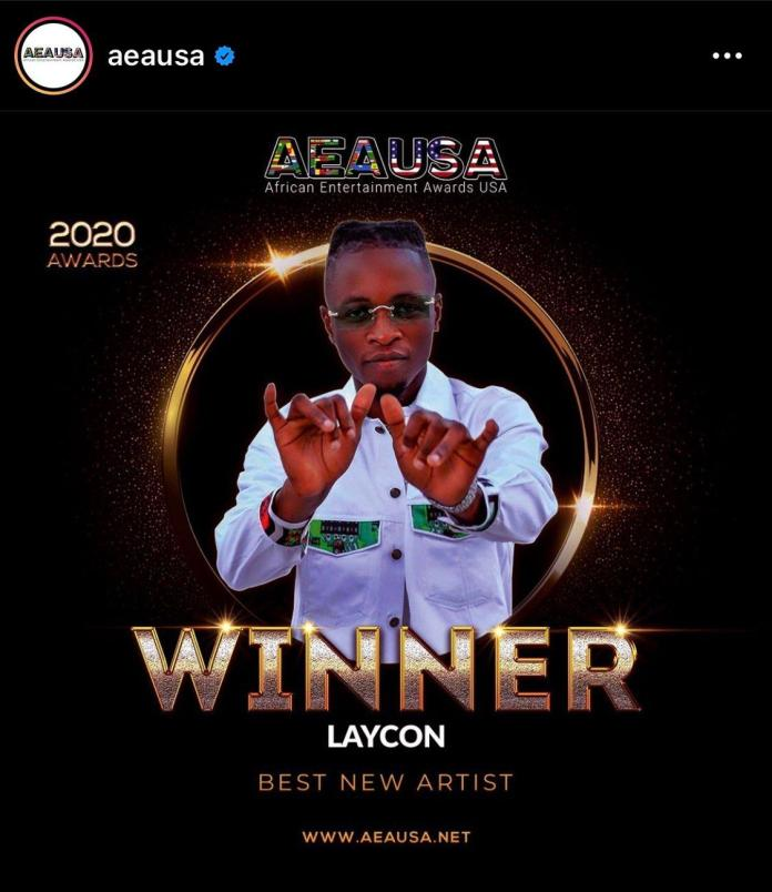 AEAUSA awards 2020: Laycon Awarded Best New Artist of The Year
