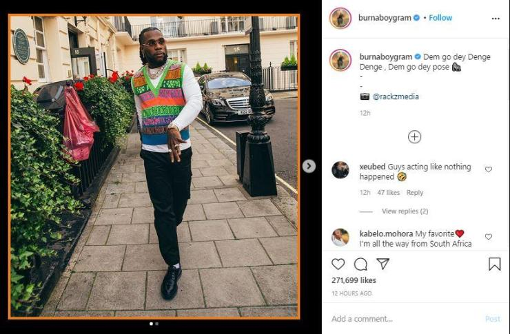 "Burna Boy reacts amidst cheating rumour with a ""bootylicious"" side chic"