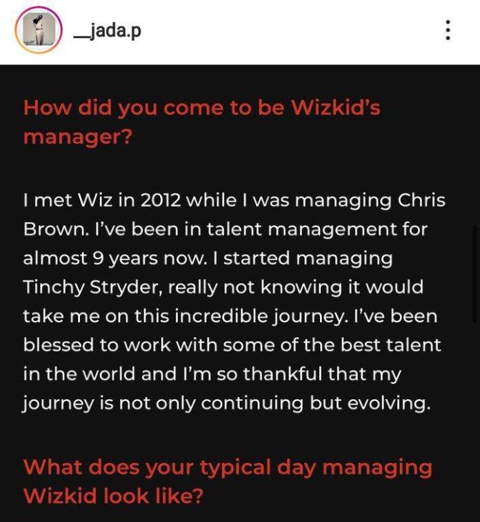 """""""How I met Wizkid"""" – Jada Pollock"""