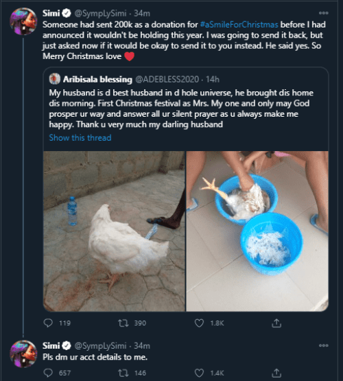 Simi gifts N200K to lady who thanked her husband for buying Christmas chicken simi'sgiftsn200ktoaladywho thankedherhusbandforbuyingachristmaschicken - unnamed 14 - Simi'sgiftsN200Ktoaladywho thankedherhusbandforbuyingChristmaschicken simi'sgiftsn200ktoaladywho thankedherhusbandforbuyingachristmaschicken - unnamed 14 - Simi'sgiftsN200Ktoaladywho thankedherhusbandforbuyingChristmaschicken