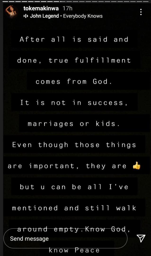 True fulfillment - Toke Makinwa