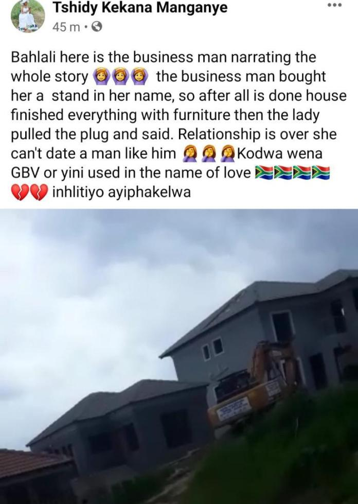 Man demolishes house he built for his girlfriend
