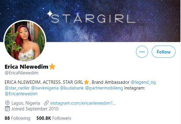 Erica Nlewedim celebrates as she hits 500K followers on Twitter