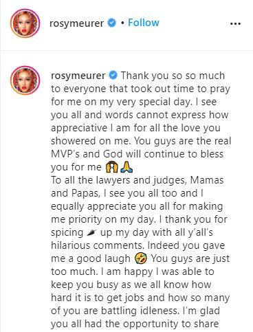 """""""To the lawyers and judges, thank you for the funny comments"""" - Rosy Meurer throws shade"""
