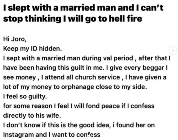 """""""I feel bad, I can't eat """" - Lady laments after sleeping with married man"""