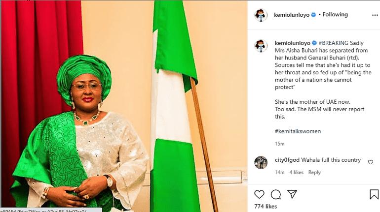 First lady, Aisha Buhari allegedly divorces husband - Kemi Olunloyo reveals