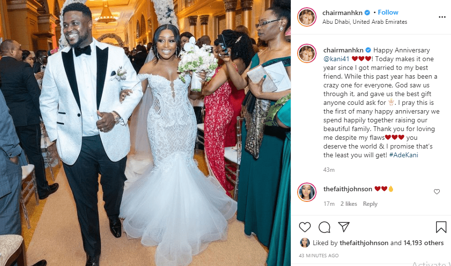Davido's brother, Adewale celebrates first anniversary with wife, Kani
