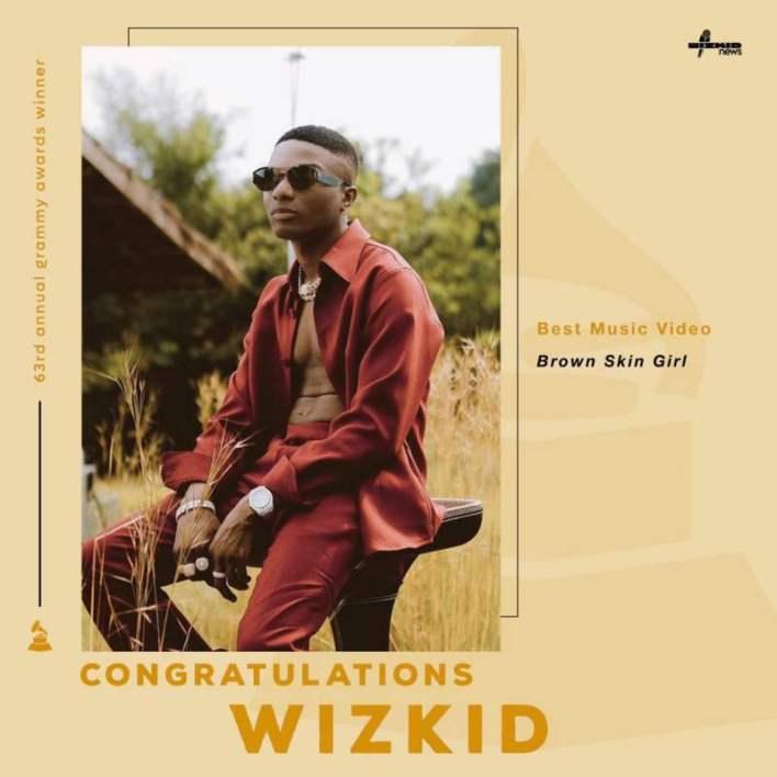 """#Grammys: Wizkid wins """"Best Music Video"""" award"""