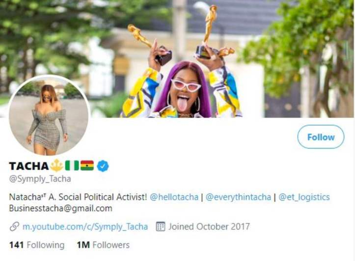 tacha 1 million followers twitter