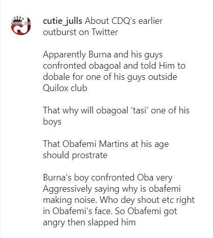 """Burna Boy confronted Obafemi Martins, asked him to prostrate"" - Blogger reveals cause of fight"