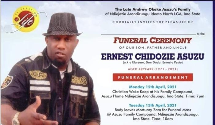 Nollywood actor, Ernest Asuzu to be buried on April 13