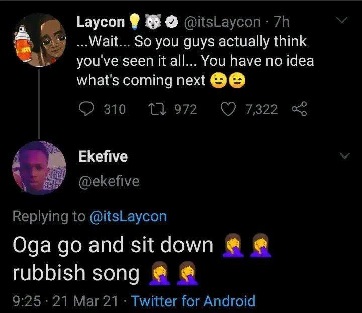 laycon rubbish song