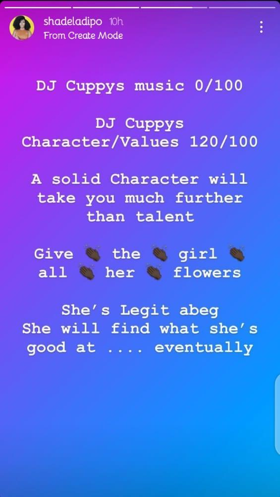 Shade Ladipo rated Cuppy