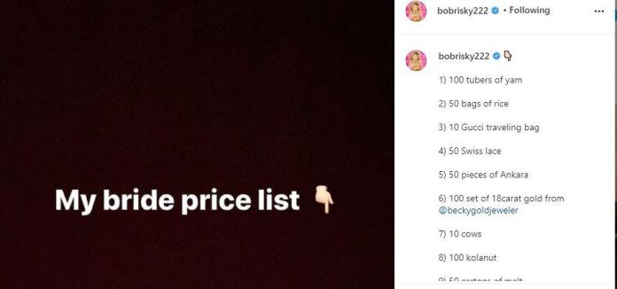 dsfss Reactions As Bobrisky Drops List Of His Bride Price