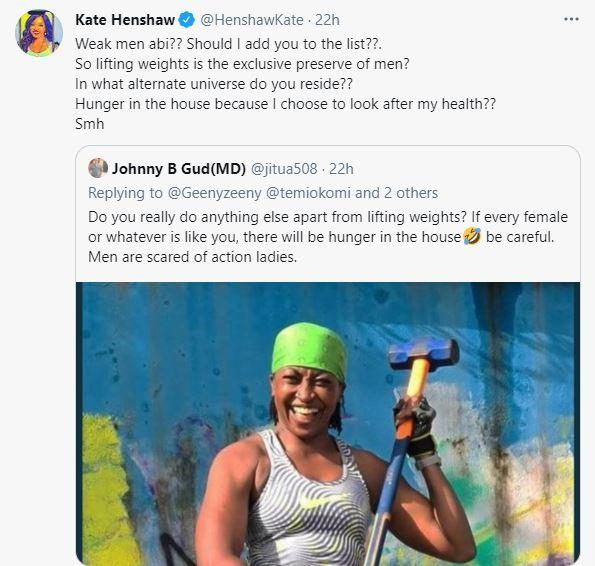Kate Henshaw slams troll who cautioned her for gyming instead of cooking